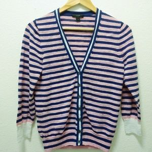 J Crew Pink and Navy Striped button front Cardigan